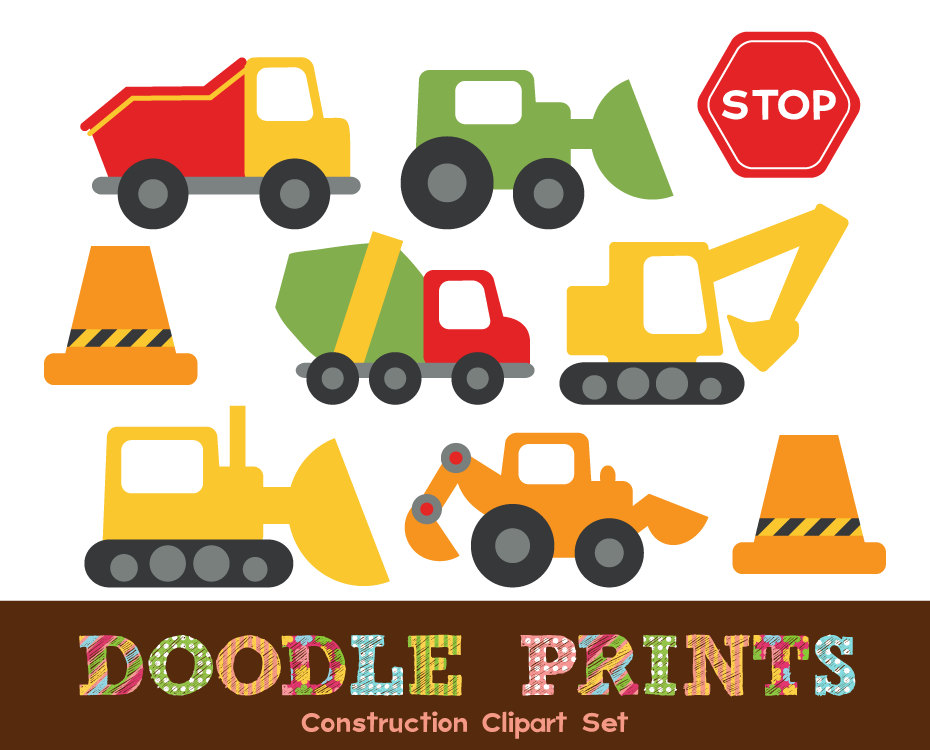 Digital Clip Art Printable Construction Design by doodleprints.
