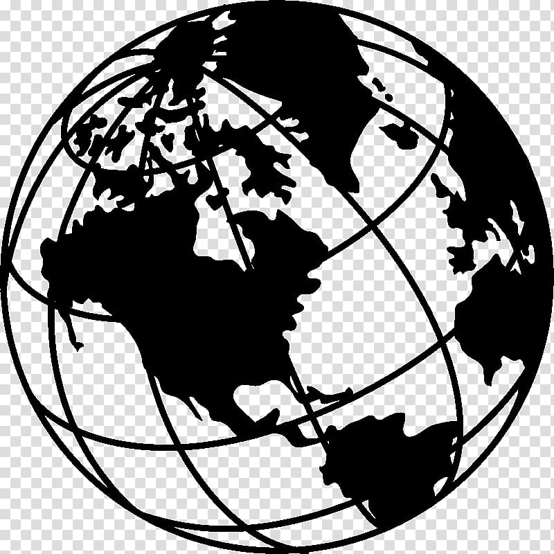 Globe Earth Black and white Drawing , mural transparent.
