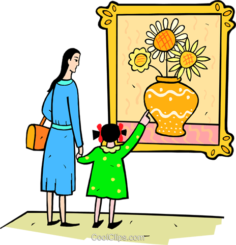 mother and daughter at the art museum Royalty Free Vector Clip Art.