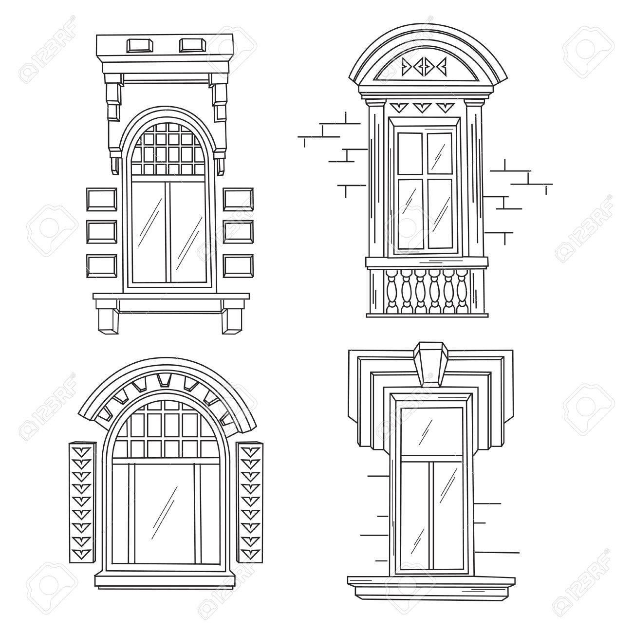 Set of retro windows. Art Nouveau. Art Modern. Jugendstil. A...