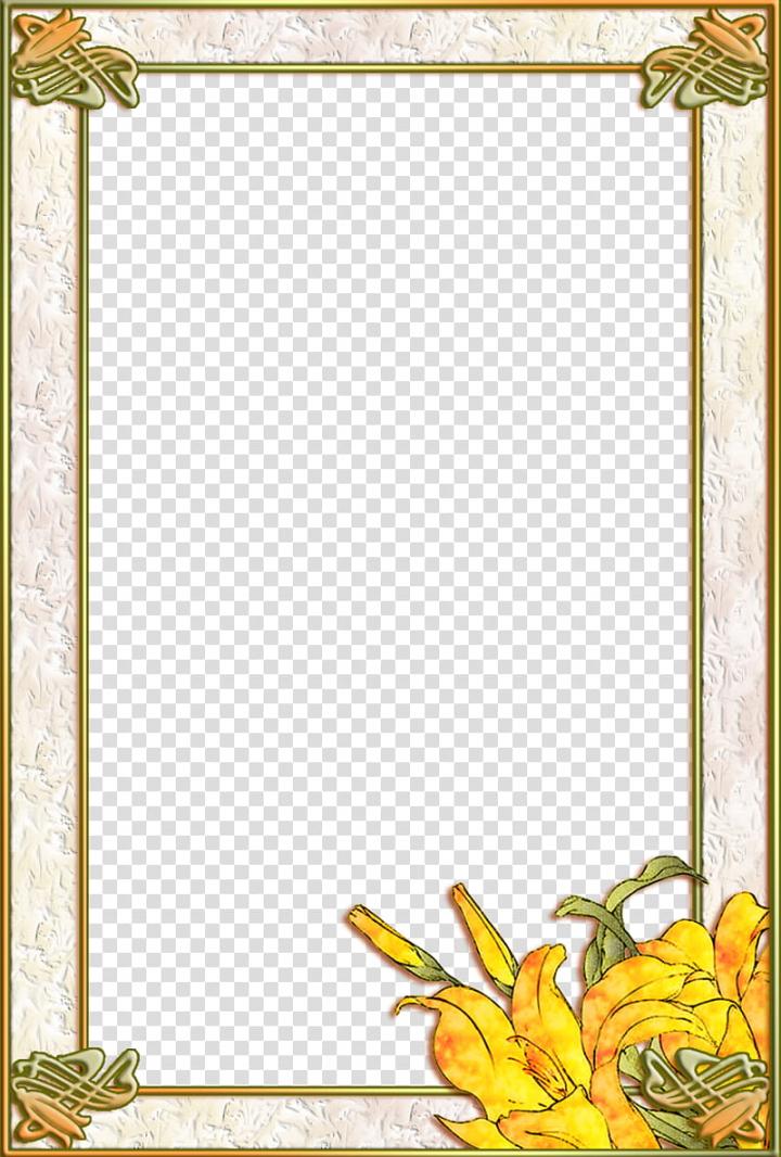 Art Nouveau Lily Frame transparent background PNG clipart.