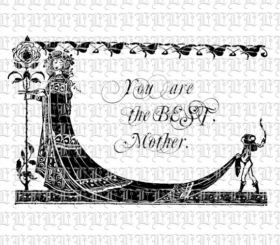Mother's Day Message Art Nouveau Border Vintage Clip Art.