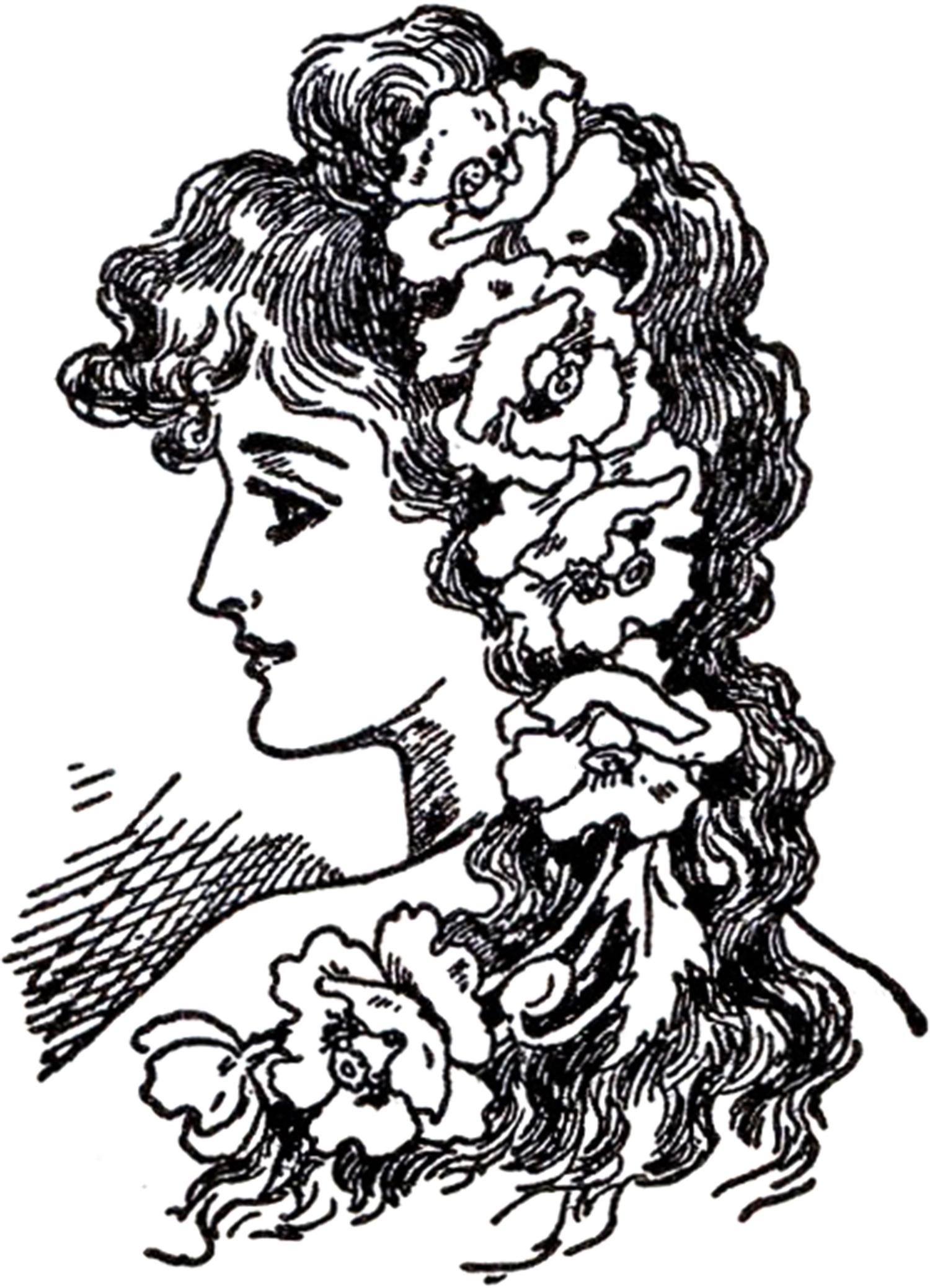 Art nouveau clipart woman.