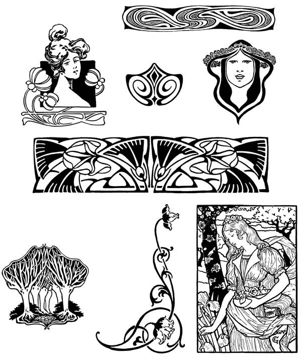 Art Nouveau Design Motifs Download