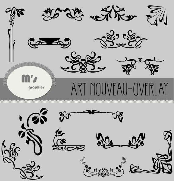 Art Nouveau Clip Art Borders in black, Corners, Headers, Accents,  Décorations.