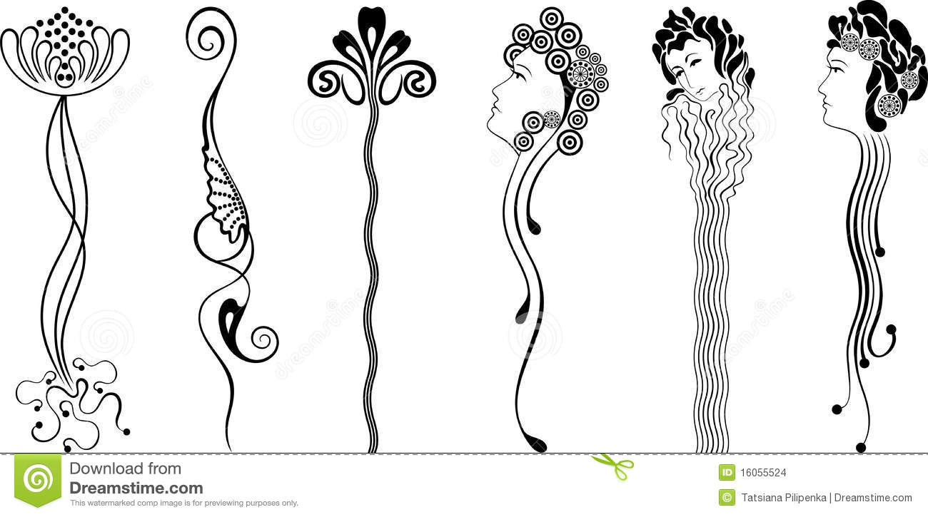 Ornament (art nouveau) stock vector. Illustration of face.