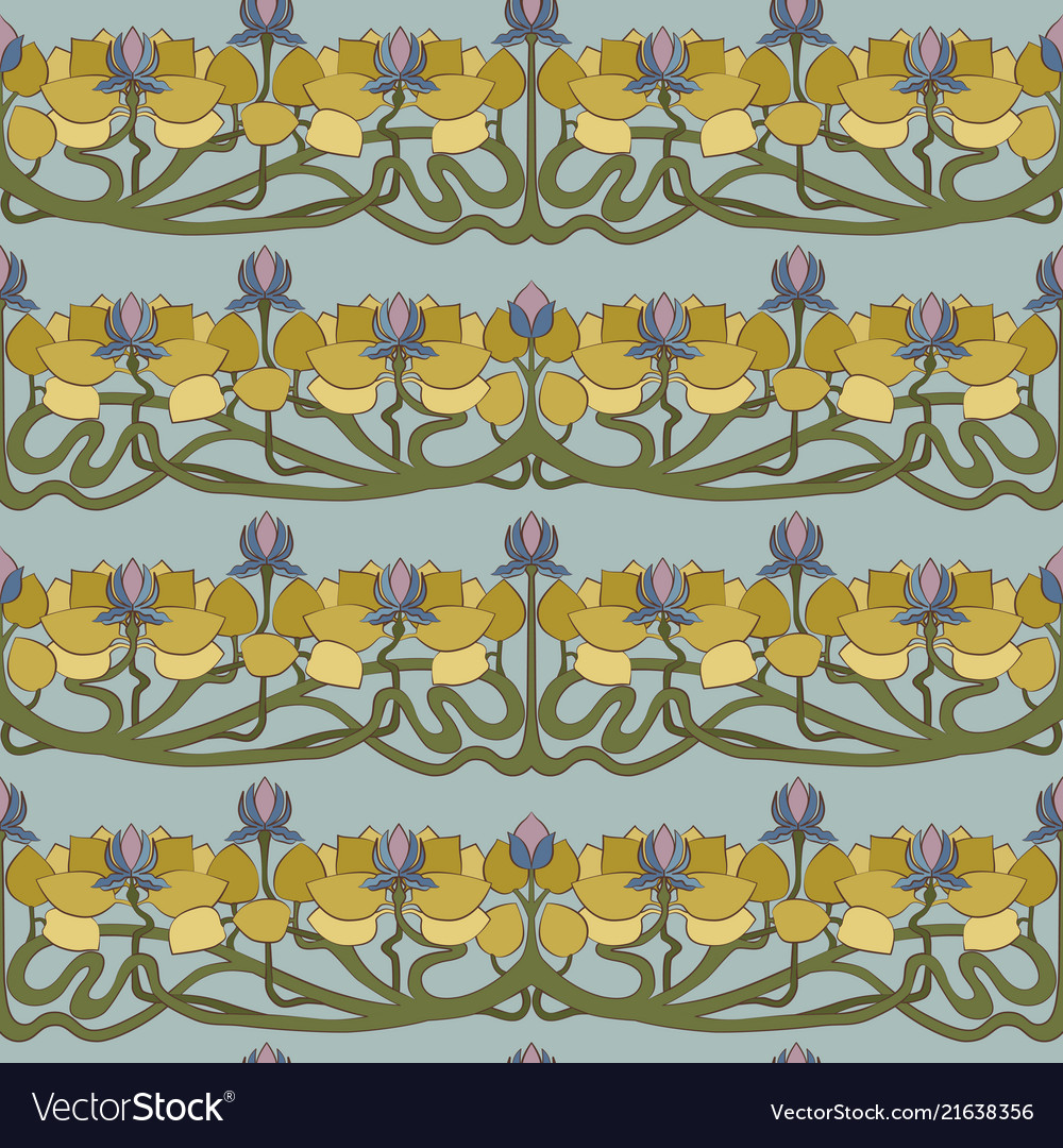 Art deco floral seamless pattern on grey.