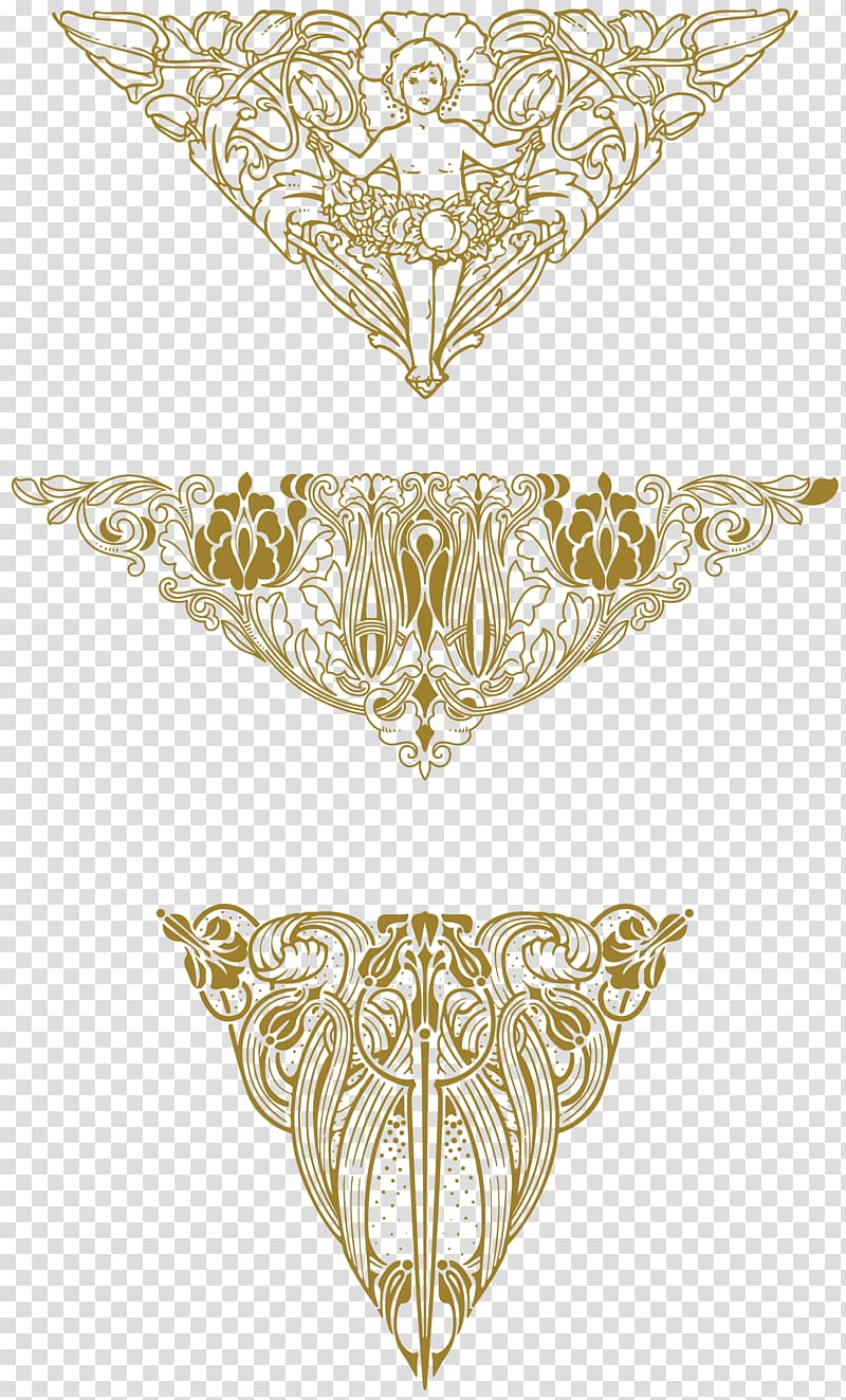 Three floral Art Nouveau Ornaments, art deco transparent.