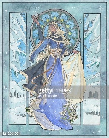 Art Nouveau Snowflake Winter Goddess with Poinsettia Clipart.