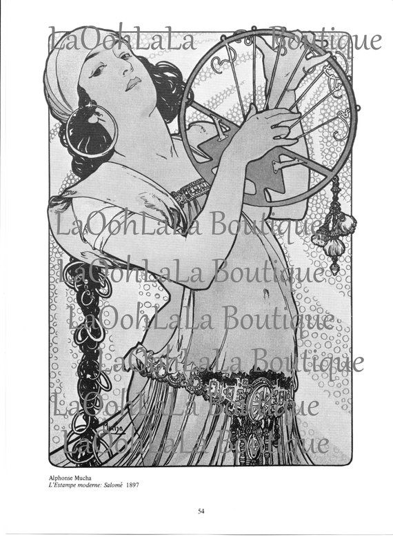 1897 Bohemian Bellydancer Digital Printable Salomé Mucha Art.