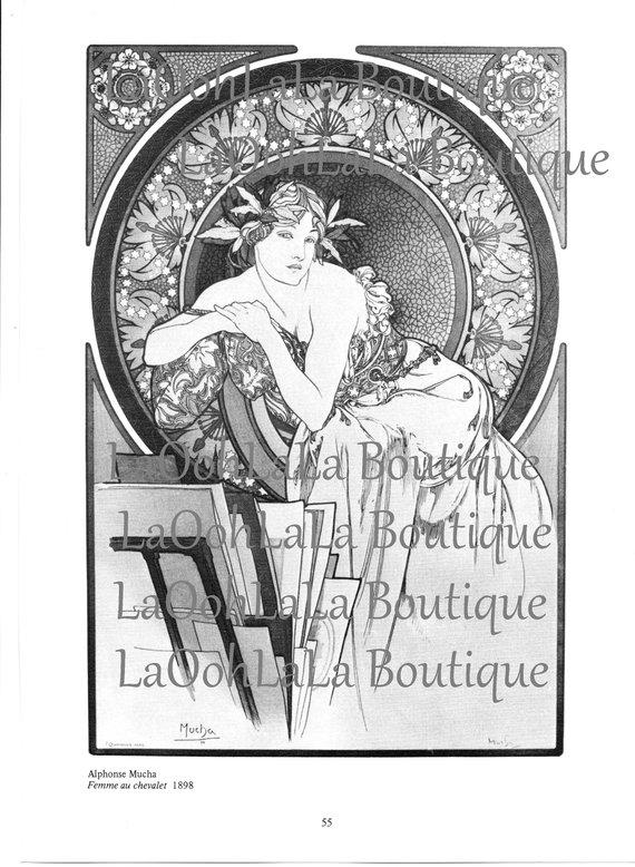 1898 Mucha Femme Digital Printable Art Nouveau Goddess Card.