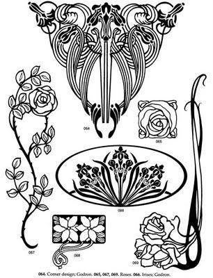 Art Nouveau Motifs And Lines.