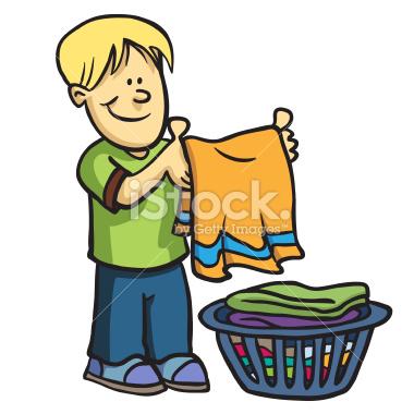 Boy Folding Clothes Clipart.