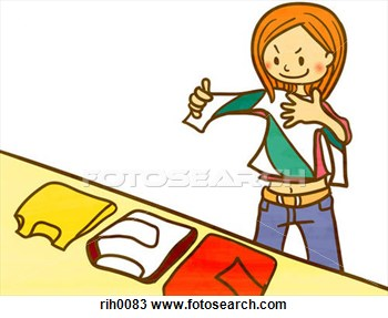 Kids folding clothes clipart.