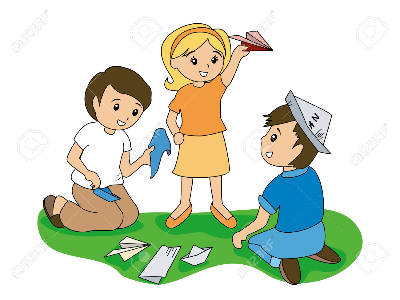 Children And Folding Papers Royalty Free Cliparts, Vectors, And.