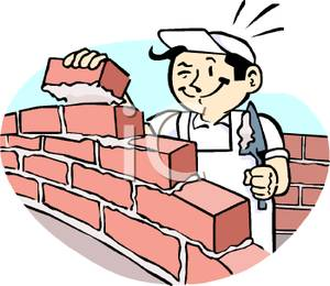 Art Image: Cartoon Bricklayer At Work Building a Brick Wall.