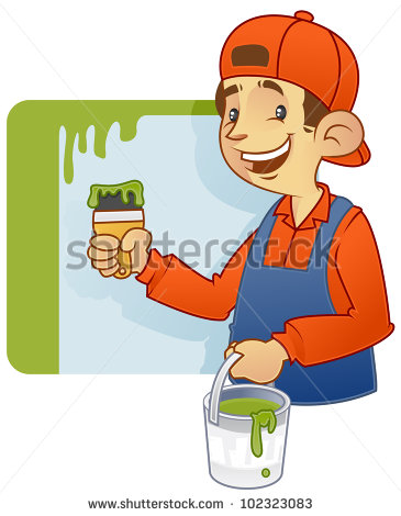 Cartoon Illustration House Decorator Doing Wall Stock Vector.