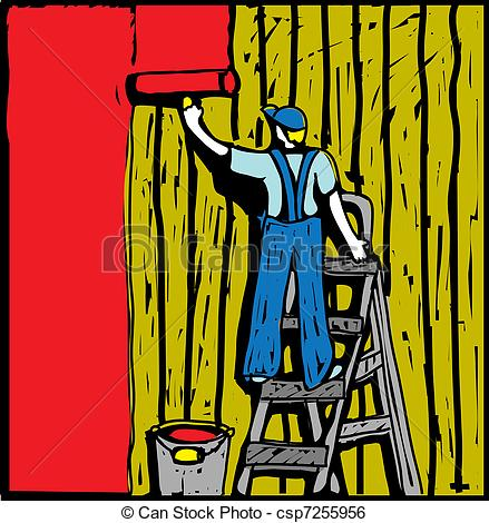 Clip Art Vector of House painter..