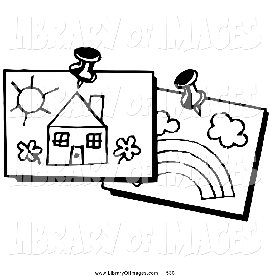 Clip Art of a Child's Drawing of a House and a Rainbow, Tacked up.
