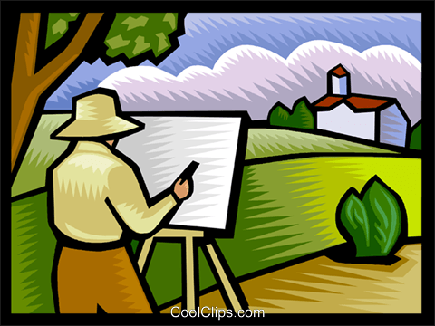Artist painting an outdoor scene Royalty Free Vector Clip.