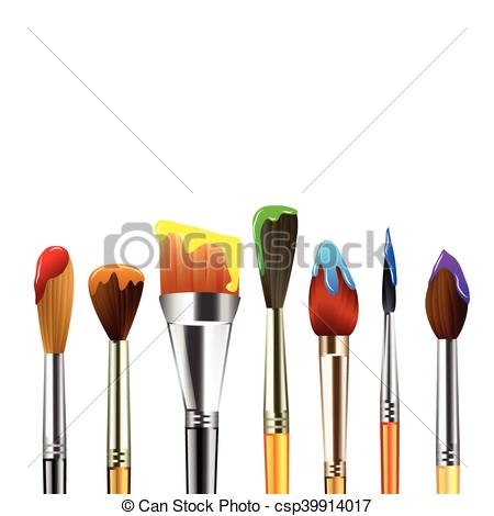Artist paint brushes isolated on white background.