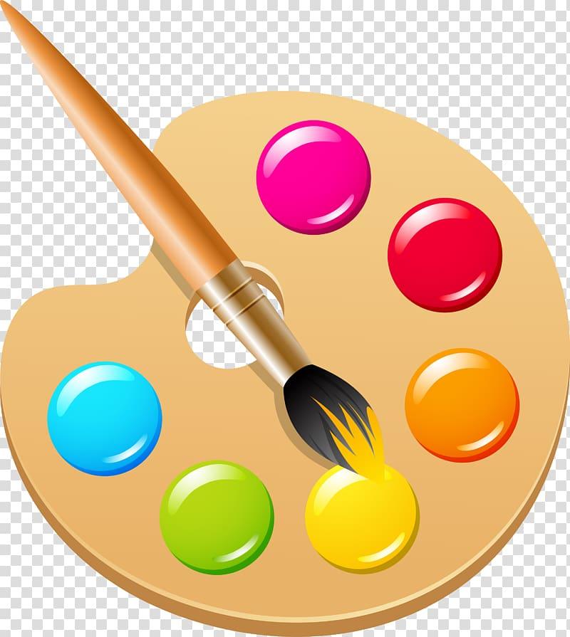 Paint palette and paint brush art, Pigment Color Ink brush.