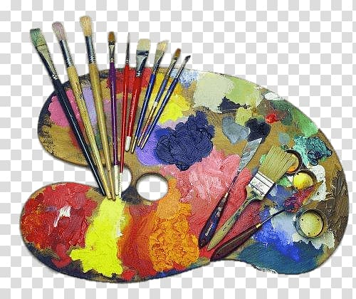 Paint brushes and board illustration, Artists Palette and Supplies.