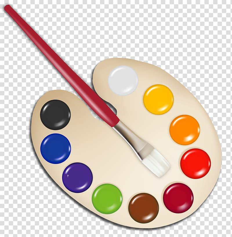 Paint palette, Used Artists Palette transparent background PNG.