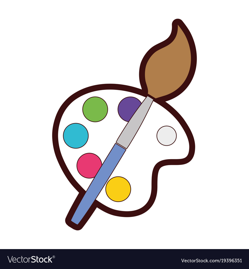 Full color watercolor palette with paint brush.