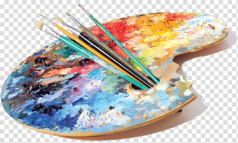 Painting palette and paintbrushes, Artist Painting Studio.