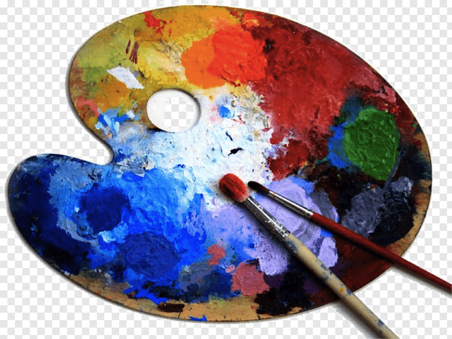 Two paintbrushes on paint pallet, Artist Palette Painting.