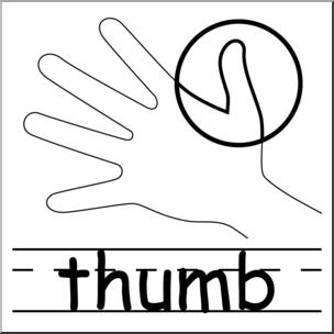 Clip Art: Parts of the Body: Thumb B&W I abcteach.com.
