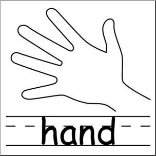 Clip Art: Parts of the Body: Hand B&W I abcteach.com.