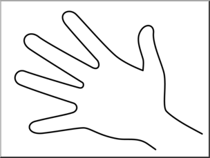 Clip Art: Parts of the Body: Hand B&W Unlabeled I abcteach.com.
