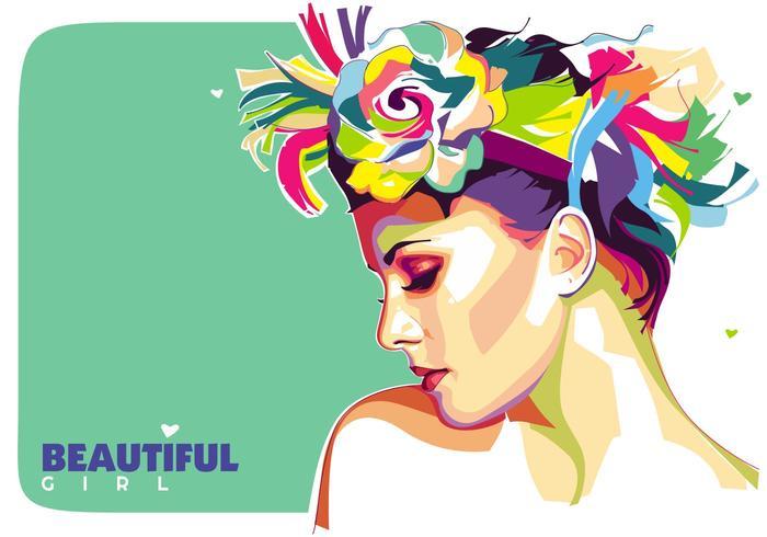 Beautiful Girl Vector Popart Portrait.