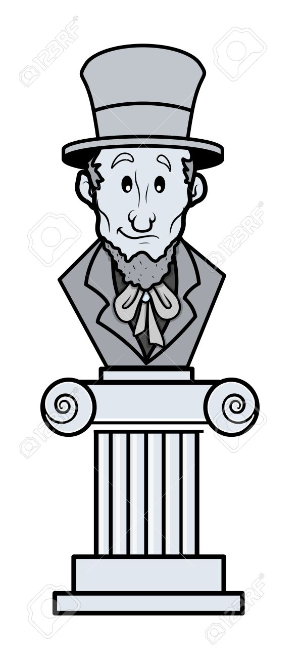 Abraham Lincoln Sculpture Cartoon Clip.