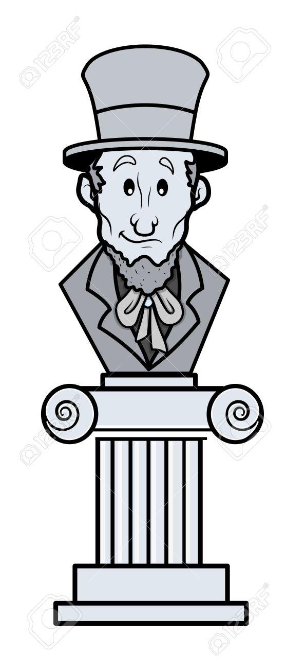 Abraham Lincoln Sculpture Cartoon Clip.