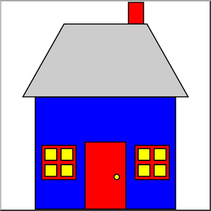 Clip Art: Basic Shapes: House 2 Color I abcteach.com.