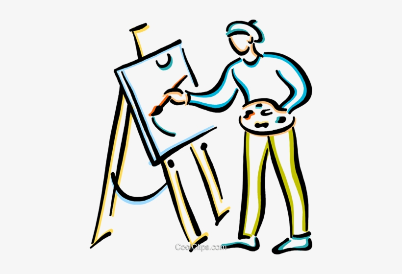 Artist Painting Picture Royalty Free Vector Clip Art.