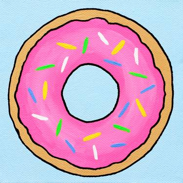 Donut Pop Art Painting On Miniature Canvas Painting by Ian.