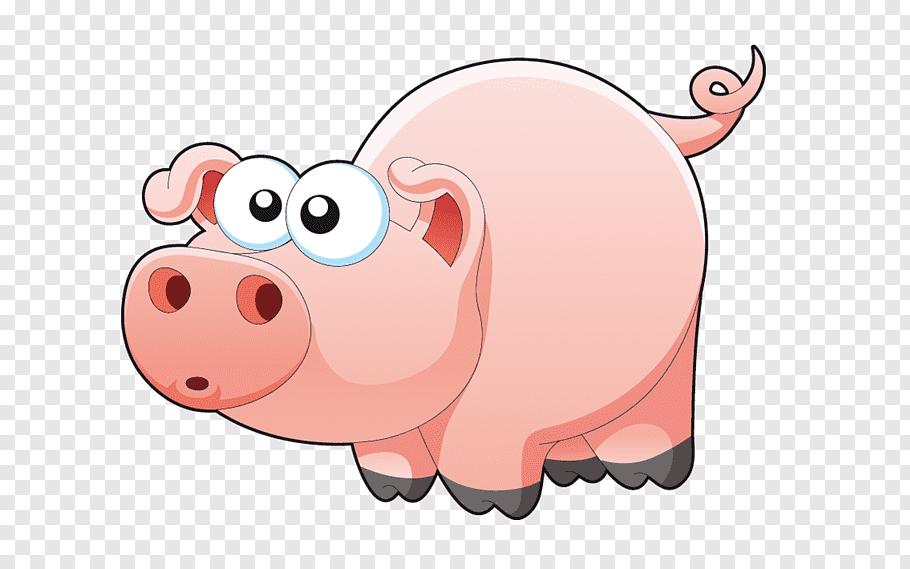 Pink pig illustration, Miniature pig Shower Curtain.