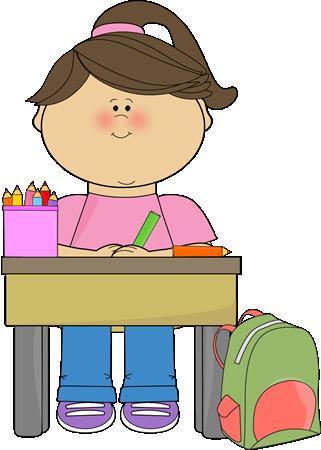 Kid Doing School Work Clip Art Image Girl Sitting At Her Desk.