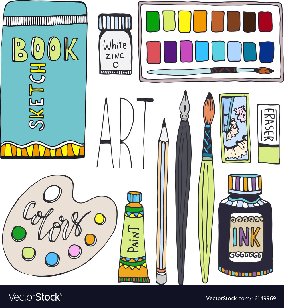 Art supplies for drawing cartoon set with paints.