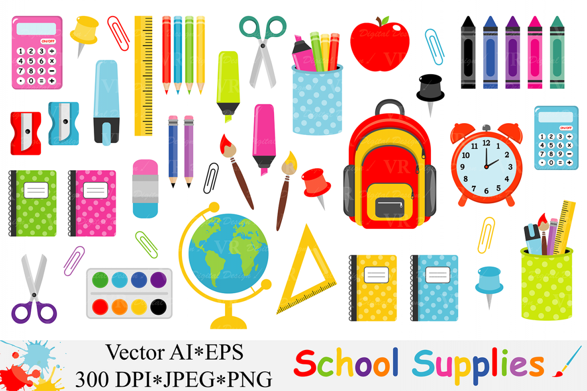 School Supplies Clipart, Back to School Clipart.