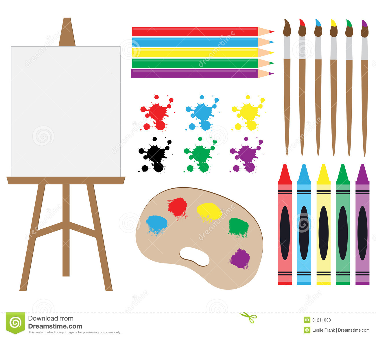 Art Supplies Clipart stock photo. Illustration of splash.