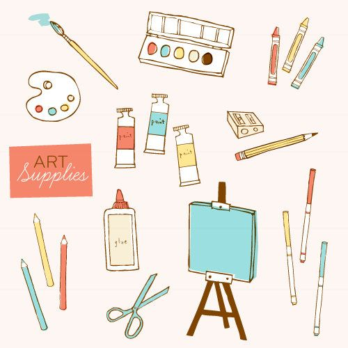 Art Supplies CLIP ART Set.