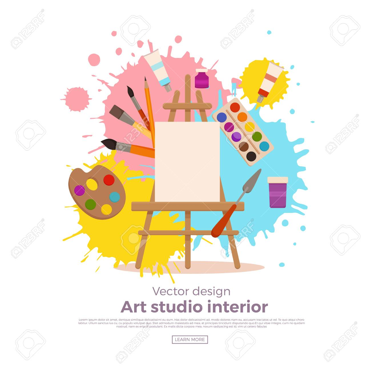 Painting tools elements cartoon colorful vector concept. Art...