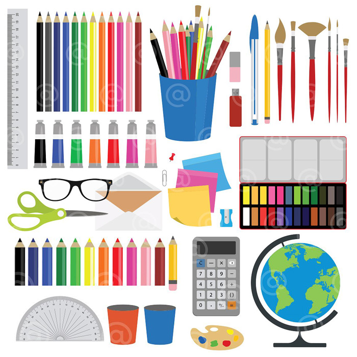 Office, Stationery And Art Supplies Clipart.
