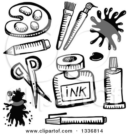 Art supplies clipart black and white 8 » Clipart Portal.