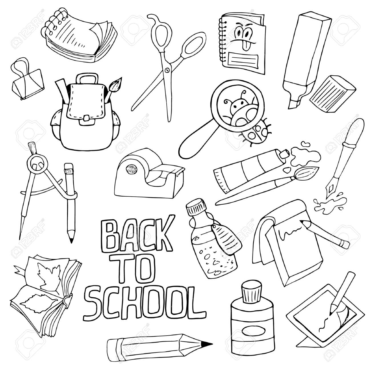set of school supplies, writing tools, black outline on white...